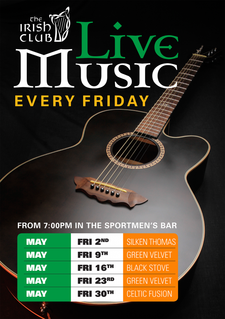 Qld Irish Association  May Live Music Friday Poster. Country Kitchen Ceiling Lights. Kitchen Organization Chart Of A Large Hotel. Interior Design Modern Kitchen. Kitchen Cupboard Pull Out Storage. Kitchen Clocks Modern. Kitchen Accessories For Restaurants. Country Kitchen Highland Park Il. Modern Living Room And Kitchen Design